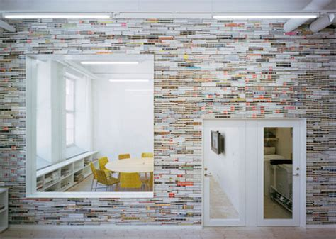 Recycled Materials Interior Design by Oktavilla S Colorful Office Wall Is Made Of Stacked