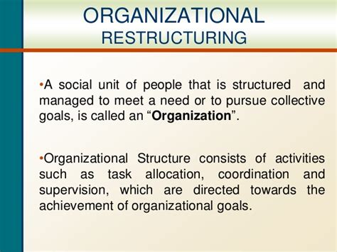 Restructuring Mba by Organizational Restructuring Ppt