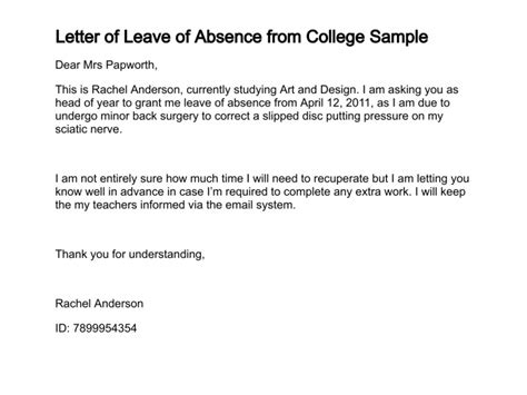 official letter format leave application official