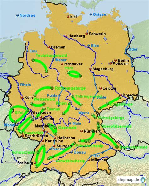 gebirgskarte deutschland stumme karte komplett diekuehnes landkarte f 252 r
