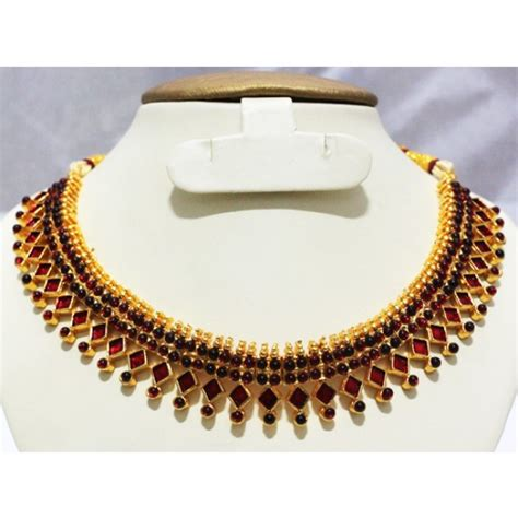 Ghaida Simple Choker Dress Maroon simple indian imitation jewellery design necklace choker