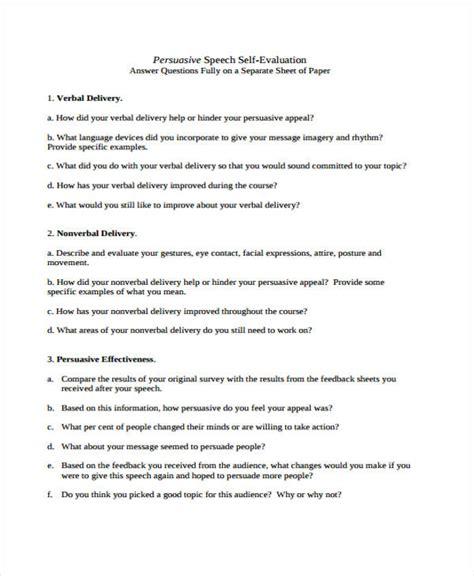 Speech Self Evaluation Sle self evaluation form templates
