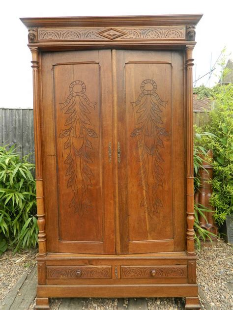 large wardrobe armoire large oak carved french armoire antique wardrobe marriage