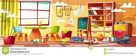 vector cartoon kindergarten  children playground room