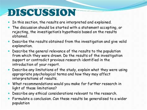 research paper discussion section exle how to write results section of research paper in