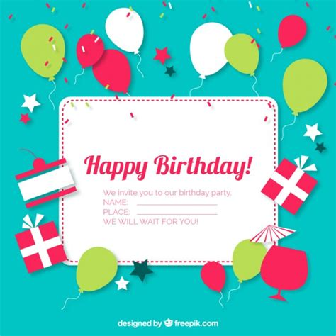 happy birthday invitation card template free 12 birthday invitation vector images happy birthday