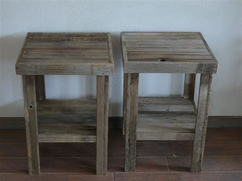 eco chic barnwood wood end table or stand pair