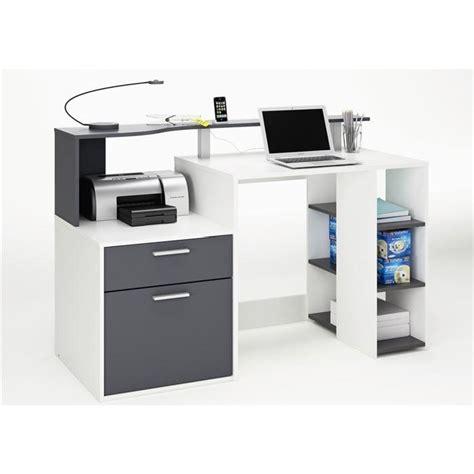 bureau cdiscount oracle bureau 140 cm blanc gris achat vente bureau