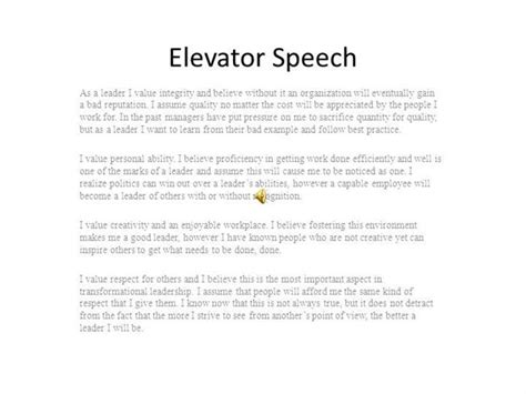 elevator speech template sle elevator speech exles 7 documents in pdf ace