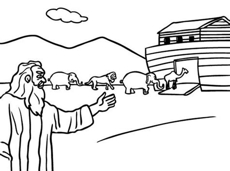 coloring page noah leading the animals into the ark