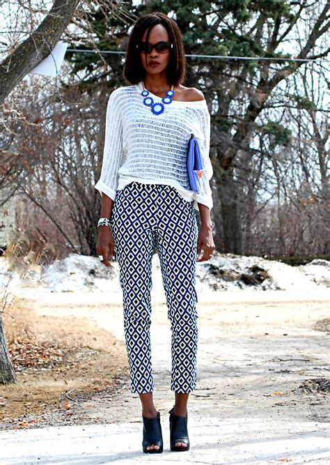 black and white pattern pants outfit outfit of the day printed pants