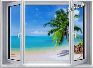 Window Wall Mural Tropical Beach Window 2 One Piece Canvas Peel Amp Stick