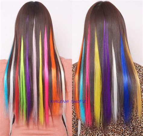 jual hair extension clip highlight rambut palsu warna warni unik distributor style wanita