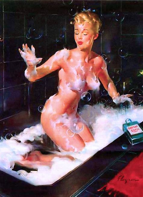 pin up girl in bathtub 1940s pin up girl soap in my eyes picture poster print