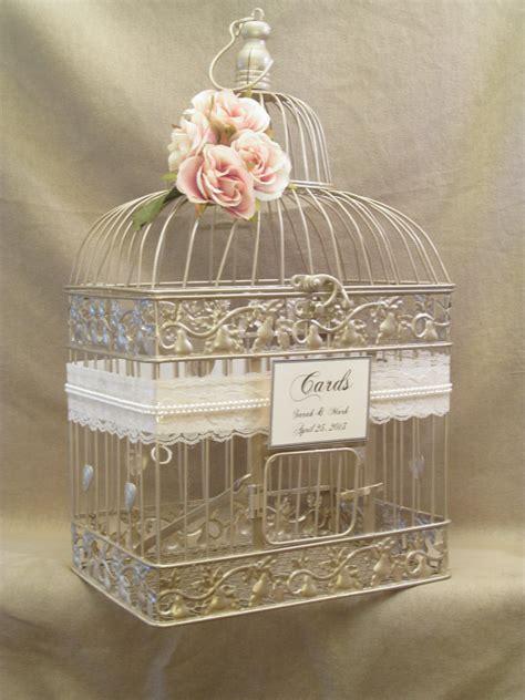wedding card chagne birdcage pearls bird cage