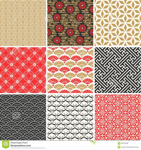 japanese pattern traditional japanese vector seamless patterns set stock vector image
