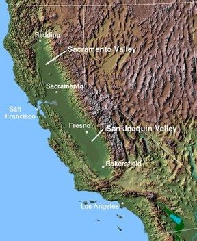 map of valley in california central valley california