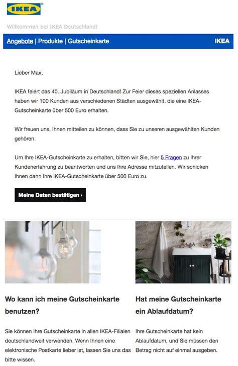 ikea mail e mail werbung f 252 r 500 euro geschenkgutschein von ikea ist