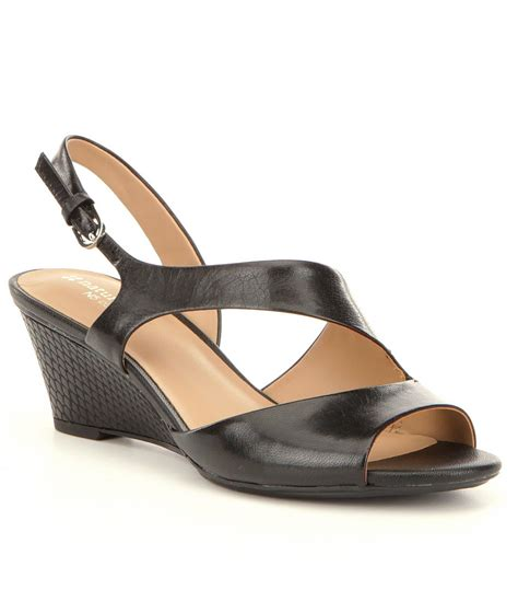 asymmetrical wedge naturalizer hartford leather asymmetrical banded slingback