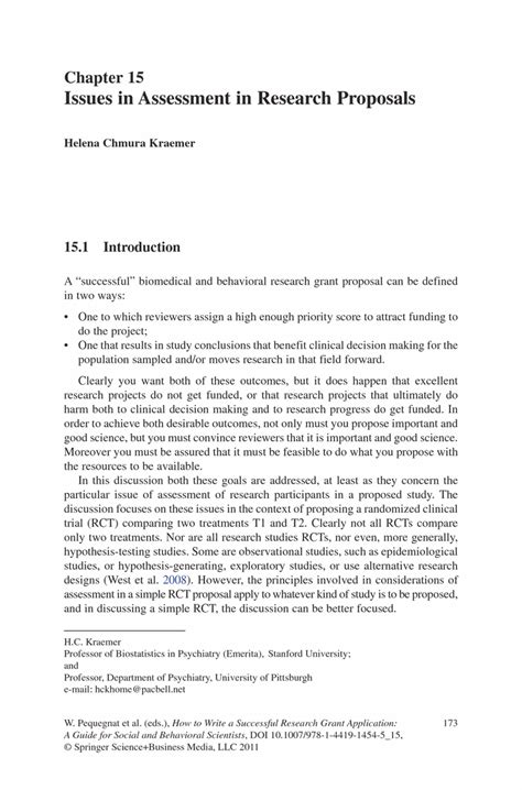 Research Grant Letter Issues In Assessment In Research Proposals Springer