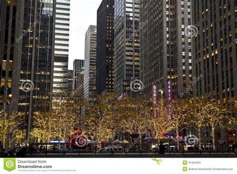 manhattan holiday lights editorial stock image image