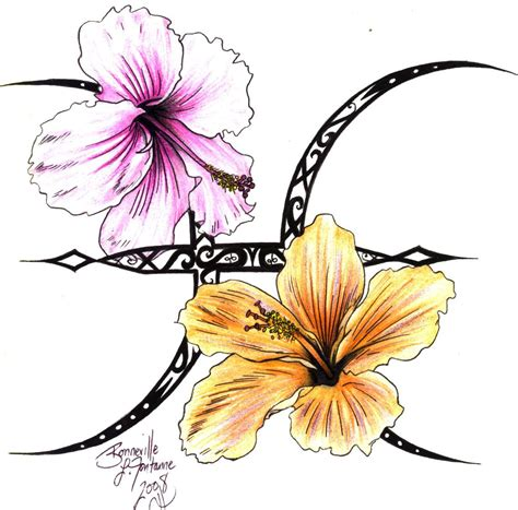 flower tattoos pisces hibiscus flower