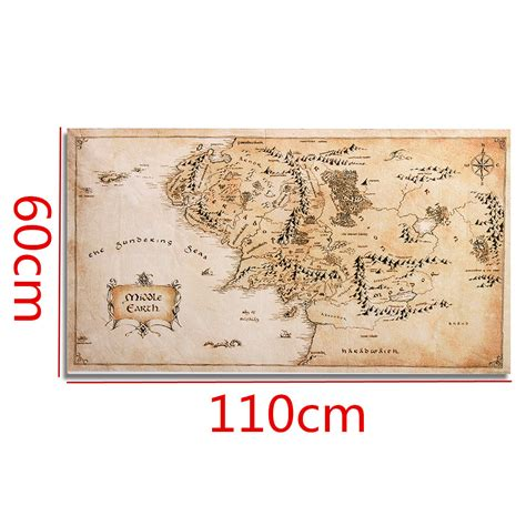 lotr home decor map of middle earth lord of the rings silk cloth poster