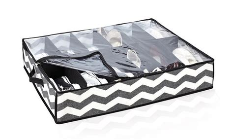 under the bed shoe organizer black chevron under the bed 12 pair shoe organizer groupon