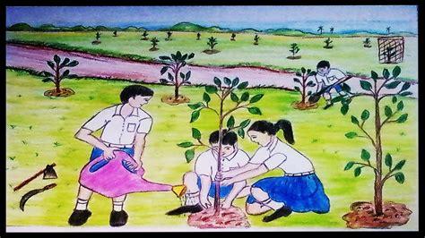 draw  scenery  tree plantation vjb drawing