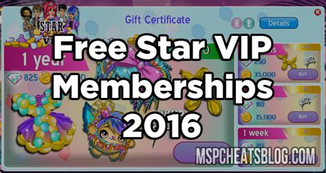 msp vips one year 2016 free moviestarplanet star vip memberships 2016