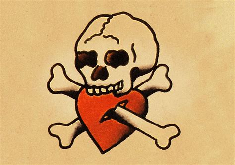 skull heart tattoo sailor jerry skull and crossbones print