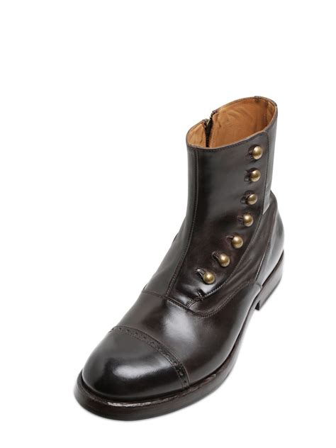 officine creative mens boots lyst officine creative brushed leather boots in brown