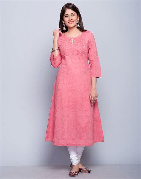 buy fabindia peach cotton chambray sujni embroidery long