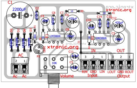 stereo audio amplifier lm386 layout xtronic