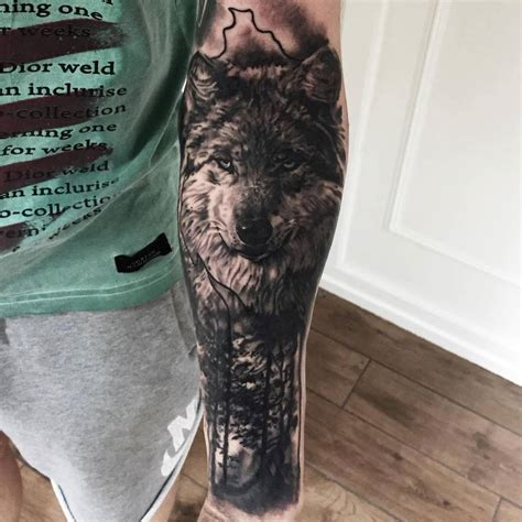 natural tattoo ink black and grey wolf and nature by theshark