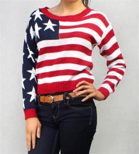 Lq Sweater Top Hodie Flag sleeve usa knitted american flag printed jumper top 8 14 ebay