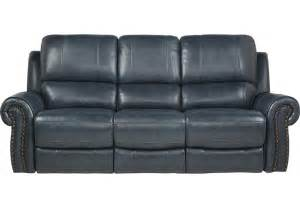 Power Leather Reclining Sofa Frederickburg Blue Leather Power Reclining Sofa Reclining Sofas Blue