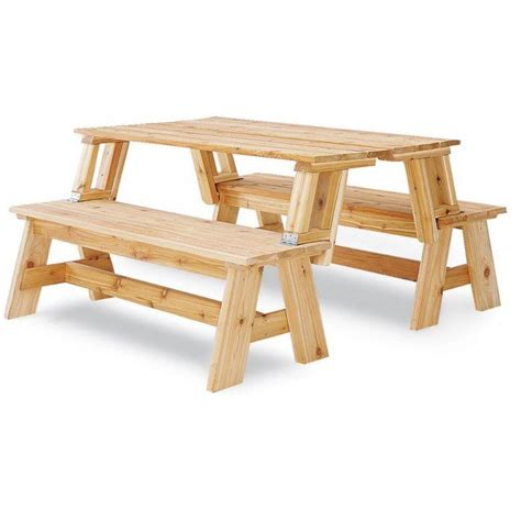 bench to picnic table plans picnic table and bench combo plan rockler woodworking
