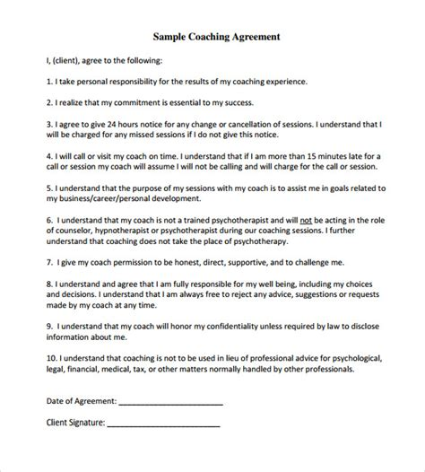 13 Coaching Contract Templates To Download For Free Sle Templates Coaching Contract Template