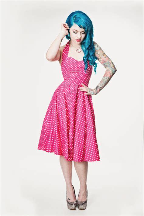 Pink Flow Dress Qif pink polka dot rockabilly dress pin up 50 s style rockabilly style vintage fashion