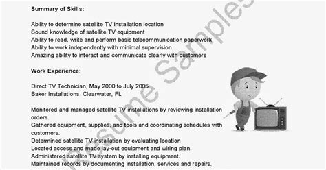 Direct Tv Technician Sle Resume by Resume Sles Direct Tv Technician Resume Sle