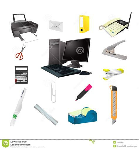 tool headquarters office tools realistic icon set royalty free stock images image 32637559