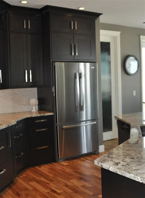 black kitchen cabinets what color on wall dark cabinets with gray walls home is where the is