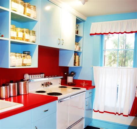 red and blue kitchen red white and blue kitchen decor with simple curtains