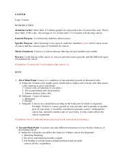 cancer - Sample Outline CANCER Topic Cancer INTRODUCTION ... Informative Speech Outline Cancer