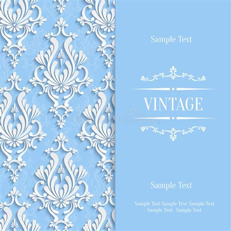 3d invitation card template vector blue 3d vintage invitation card template with