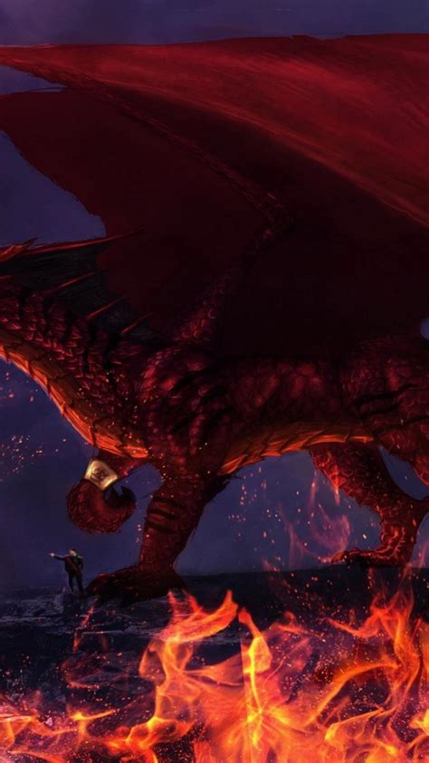red dragon scales glowing eyes mythical flame wallpaper