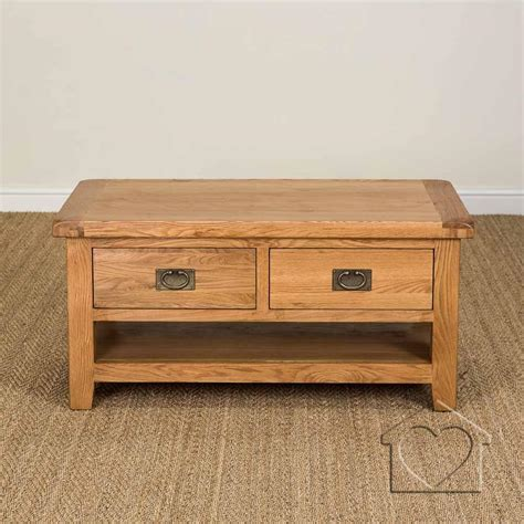 Oak Coffee Tables With Drawers Heritage Rustic Oak Large Coffee Table With 2 Drawers Shelf 163 279 00 A Fantastic Range Of