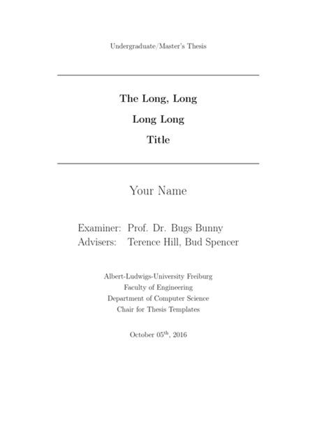 Computer Science Thesis Template Of Freiburg Computer Science Thesis Template