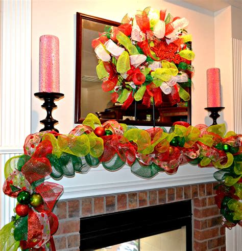 decorating with deco mesh garland deco mesh garland mantel decoration